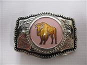 BUFFALO BISON AMBER INLAY WITH PINK BACKGROUND CHROME PLATED BELT BUCKLE